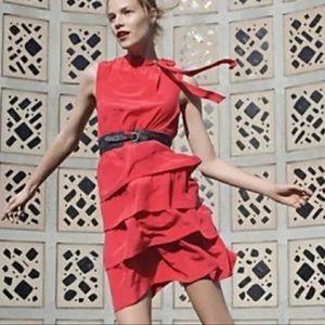 Girls From Savoy red silk sleeveless ruffle dress